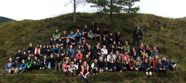 SRUC class photo on small hill