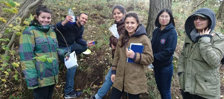 Soils students carrying out fieldwork
