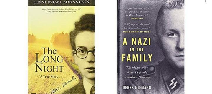 Book covers for Noemie Lopian's book, The Long Night and Derek Niemann's book, A Nazi in the Family