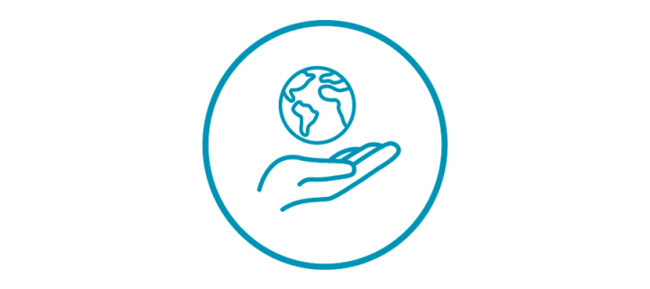 Civic Responsibility icon - hand with a world floating above it