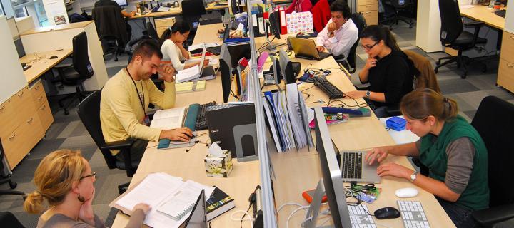 Staff in open plan office module