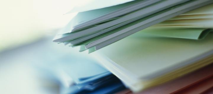 Folders with paper documents