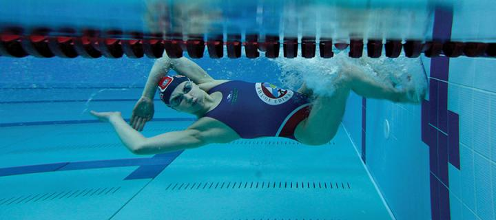 Photo of a student swimming