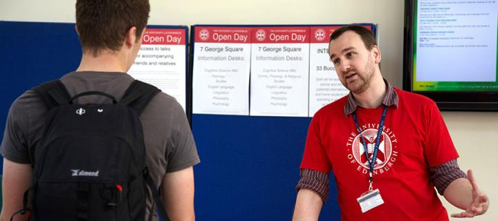 Photo of staff and students at an open day