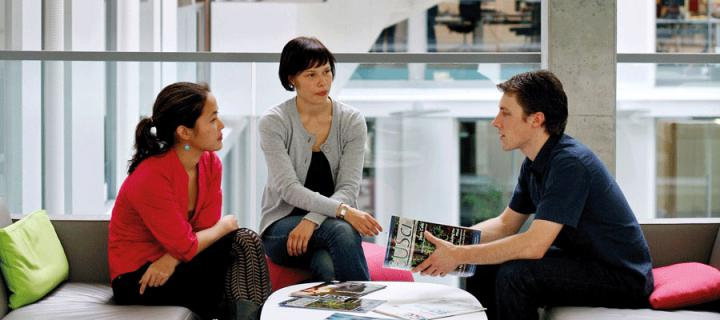 Photo of three students in the Informatics Forum