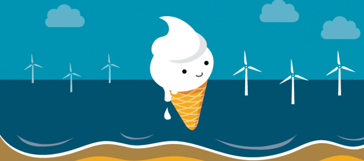 Icecream energy mascot, 'Scoopy', at the beach