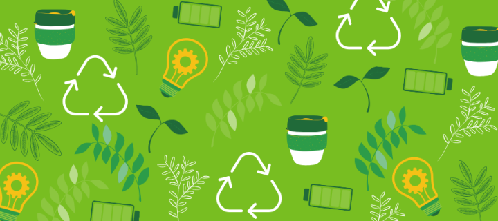 A pattern of icons related to recycling and green energy