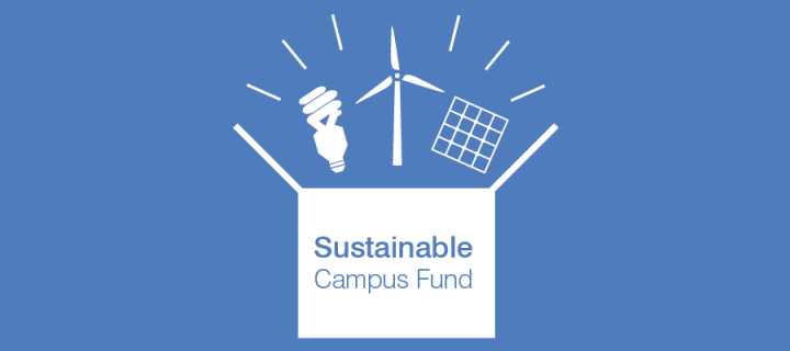 Sustainable campus fund graphic - sustainable technologies  coming out of a box labelled 'Sustainable Campus Fund'