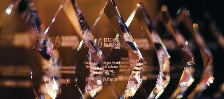 Teaching Awards trophies 2018