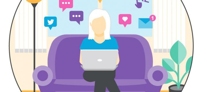 Infographic - woman on sofa with social media symbols