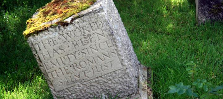 Engraved stone in Little Sparta, the home of Ian Hamilton Finlay