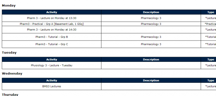 Image of pharmacology student timetable for Monday, Tuesday and Wednesday