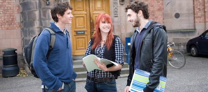 Students talking at King's buildings campus
