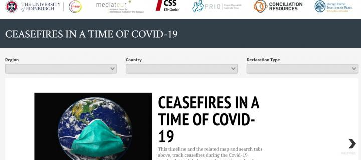 Homepage of COVID-19 Ceasefires Tracker Tool
