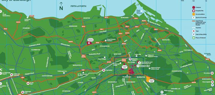 Map of Edinburgh showing useful transport points