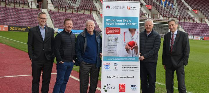 Jim Jefferies at launch of SCOT-HEART 2 trial with James Jopling, Gary Locke, Pat Stanton and Professor David Newby