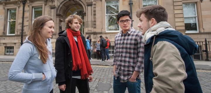 Undergraduate students outside 7 George Square