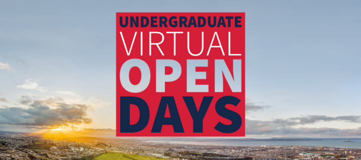 Photo of Edinburgh with Undergraduate Virtual Open Days text