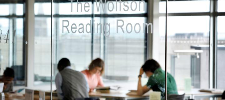 Researchers at work in the Wolfson Reading Room in the Main Library