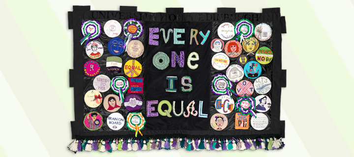 "Handmade banner which reads ""Every One is Equal"""
