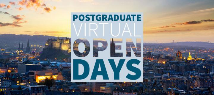 Postgraduate Virtual Open Days - skyline of city of Edinburgh at dusk