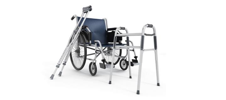 Wheelchair, crutches and walker