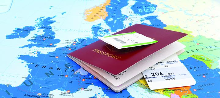 Passport on a map of Europe