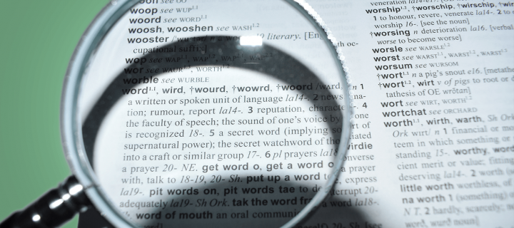 "A magnifying glass hovers over a Scots Dictionary entry for ""Wird"" (Word)"
