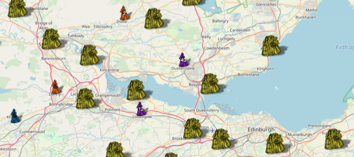 Screengrab of Witches website depicting the number of accused witches in parts of Fife and Lothian.