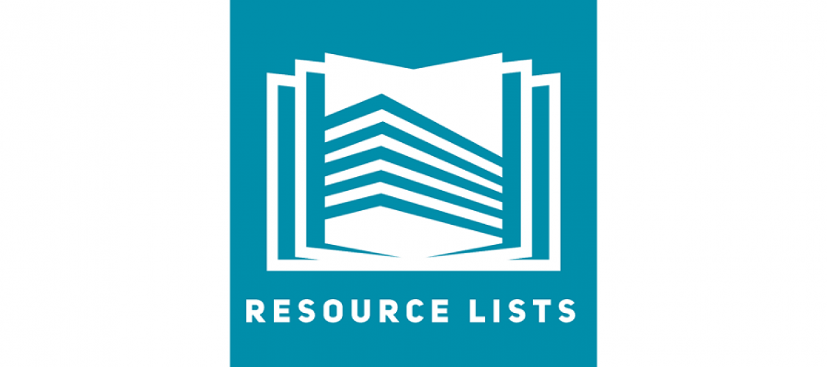 Resource List service logo. Teal background, white outline of a book which is lying open is shown. The word 'Resource lists' are written below, also in white.