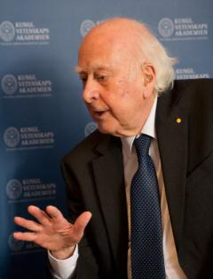 Professor Peter Higgs answers questions during a press conference ahead of the Nobel Prize ceremony in Stockholm.