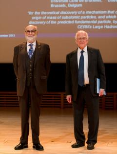 Professors Peter Higgs and François Englert presented Nobel lectures to an audience in Stockholm ahead of the Nobel Prize ceremony.