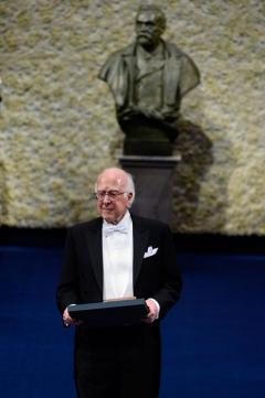 The 2013 Nobel Prize Laureate in Physics, Professor Peter Higgs, after receiving his Nobel Prize.