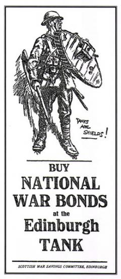Fund raising poster to encourage the public to buy war bonds and raise money to manufacture tanks.