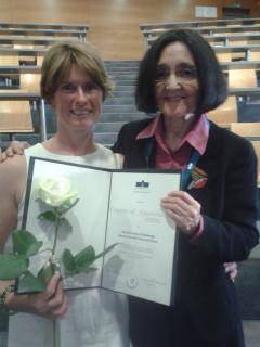 Pam smith and Rosie Stenhouse with their Charter of Appreciation