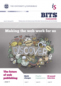 BITS issue 23 cover - 'Making the web work for us' illustration depicting the words discover, network, login, online and share.