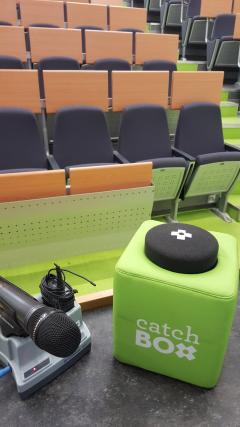 Image of Catchbox microphone in lecture theatre