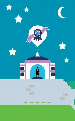 Illustration: McEwan Hall graduate with dissertation prize emblem
