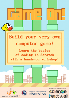 Poster for the programming workshop called Game On