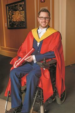 Alumnus Gordon Aikman in his graduation robes