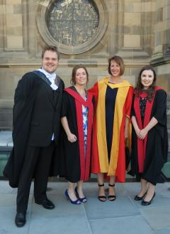 Professor Jayne hope with three of her successful postgrad students