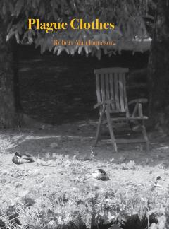 The front cover of a book called Plague Clothes showing an empty chair in a leafy garden