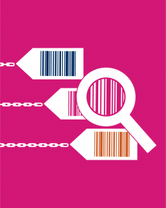 Magnifying glass looking at bar codes on shopping tags attached to chains