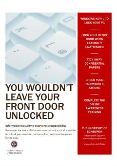 Information security awareness week lock physically and virtually poster