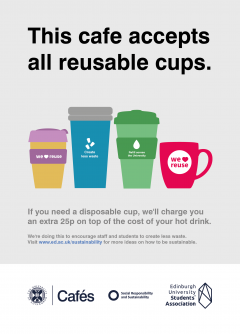 Poster explaining that cafes accept all reusable cups