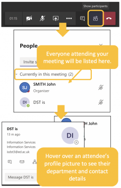 Image showing how to verify attendees during your Teams meeting