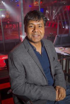 Professor Sethu Vijayakumar in the Robot Wars arena, photo by Mentorn Scotland