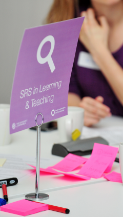 'Learning and teaching' sign at workshop