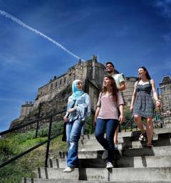 Students enjoying the sunshine at Edinburgh Castle