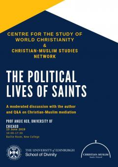 Text only event flyer for the Political lives of saints